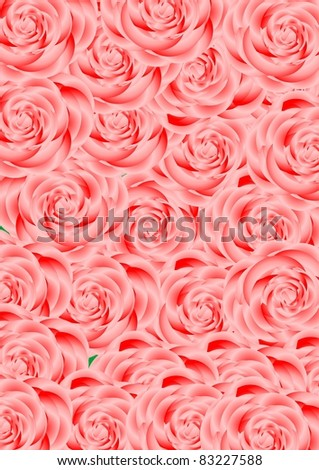 Large bouquet of pink roses on green background. - stock vector