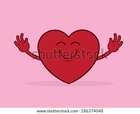 large cartoon heart reaching
