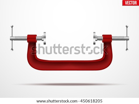 Large clamp compression tool. Conceptual vector illustration