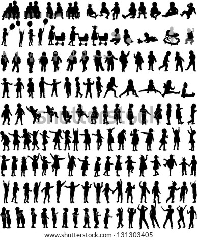 Large collection of children\'s silhouettes , vector work.