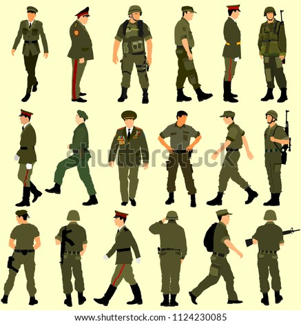 Large collection of different soldiers vector illustration isolated on white background. Saluting army soldier's silhouette vector. (Memorial, Veteran's day). army and military concept.