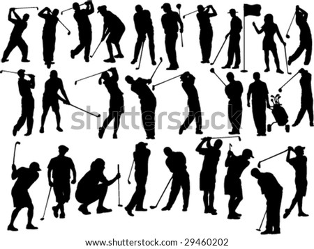 large collection of golfers silhouettes