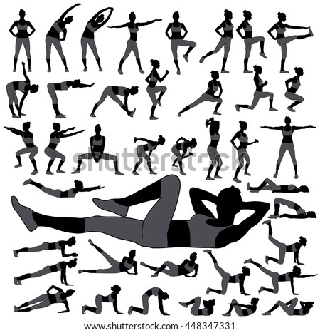 Large collection of icons of woman doing sport exercises. Black silhouettes of slim woman body in different sport poses. Sportive girl in pants and t-shirt shapes. Healthy and active life style.