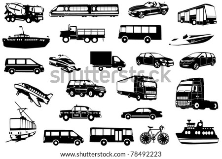 Large collection of icons transport