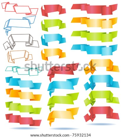 stock vector : Large collection of origami paper banners
