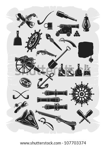 Large collection of pirate. Gray scale, vector