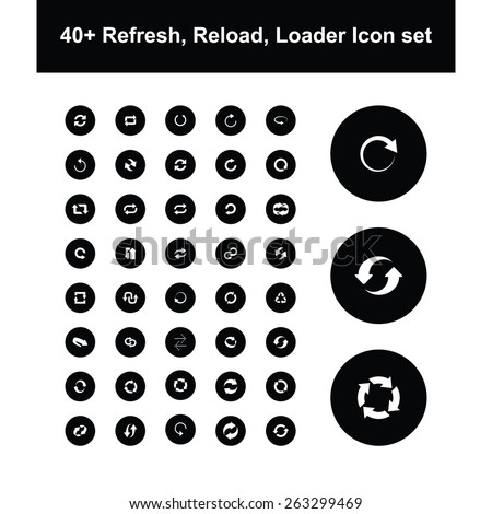 large collection of reload and refresh icon set