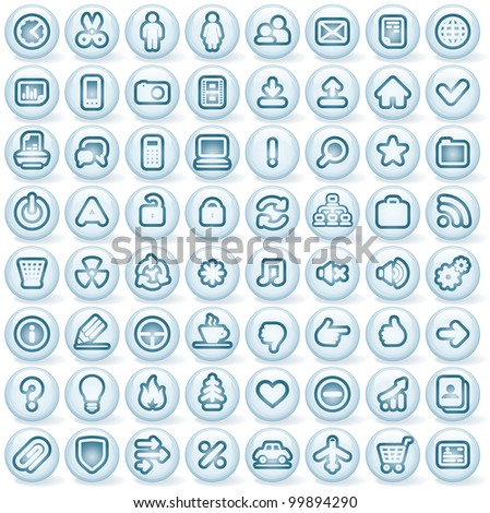 Large Collection of Round 3D Computer Icons, Buttons