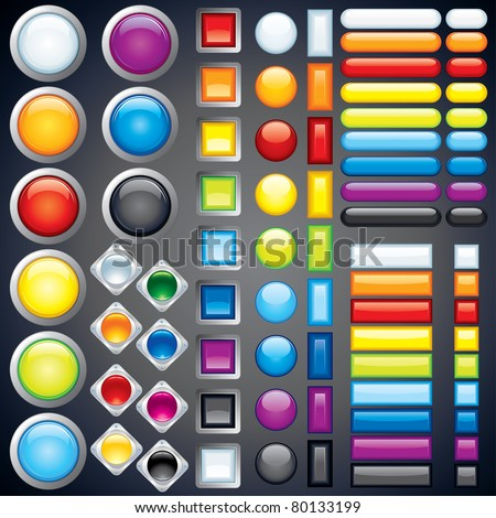 Large collection of shiny colorful bars, buttons, knobs, keys, Vector design elements without transparencies, meshes