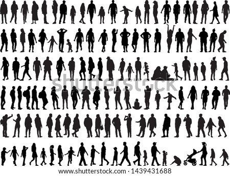 Large collection of silhouettes concept. #1439431688