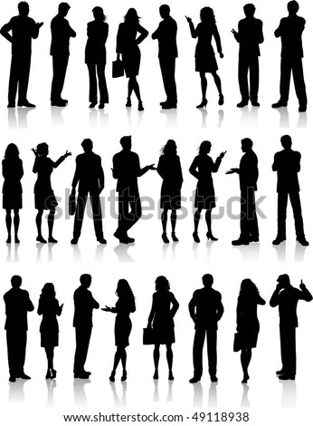 Large collection of silhouettes of business people