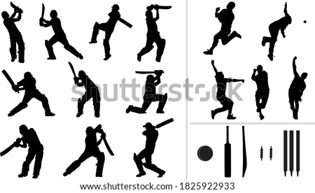 Large collection of silhouettes of cricket player - batsman, bowler & cricket elements. Stockfoto ©