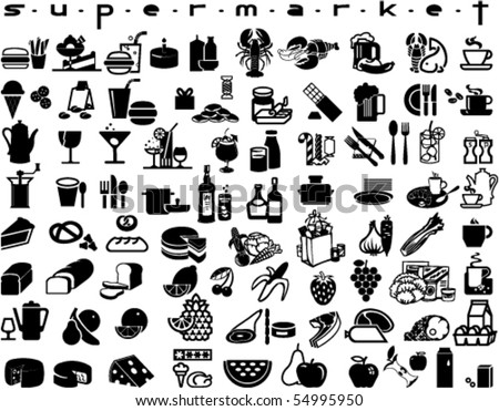 Large collection of supermarket symbols