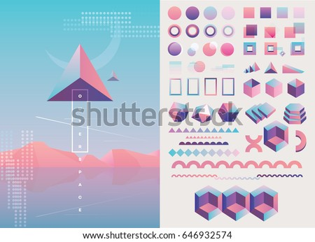 Large collection of trendy holographic, geometric, colorful abstract shapes and decorative lines in pink, purple and blue color hues