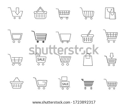 Large collection of twenty different line drawn shopping icons in black and white with trolleys, carts, bags and a sale sign on merchandise, vector illustration
