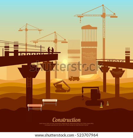 Large construction site vector, bridge construction with cranes, machinery, industry background vector