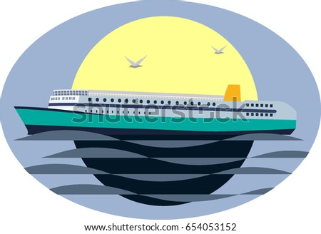 large cruise ship at sea at