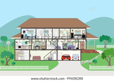 Large detailed modern house interior cutaway layered for Modern house clipart