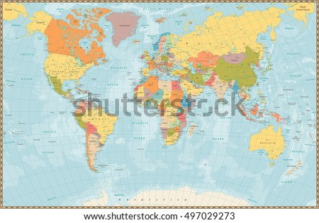 Vintage world map vector download free vector art stock graphics large detailed vintage color political world map with lakes and rivers highly detailed vector illustration gumiabroncs Gallery