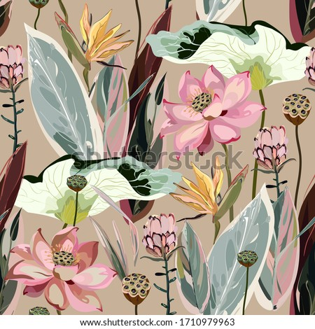 Large flowers, inflorescences, buds and lotus leaves, Strelitzia and Proteus on a beige, cream background. Vector seamless floral illustration. Square repeating design template for fabric, wallpaper.