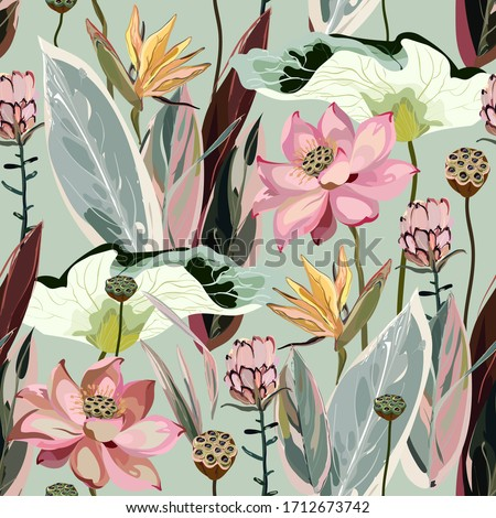 Large flowers, inflorescences, buds and lotus leaves, strelitzia and proteus on a light sage greeen background. Vector seamless floral illustration. Square repeating design template for fabric