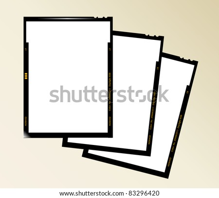 large format film sheet negative set 4 x 5 inch, blank picture frames, vector - stock vector