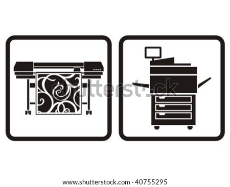 Large format printer and multifunction printer vector icons.
