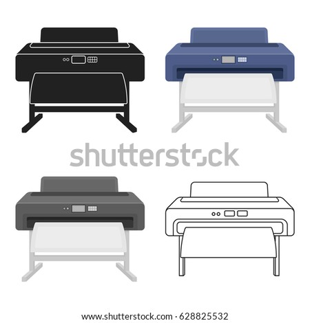 Large format printer icon in cartoon style isolated on white background. Typography symbol stock vector illustration.