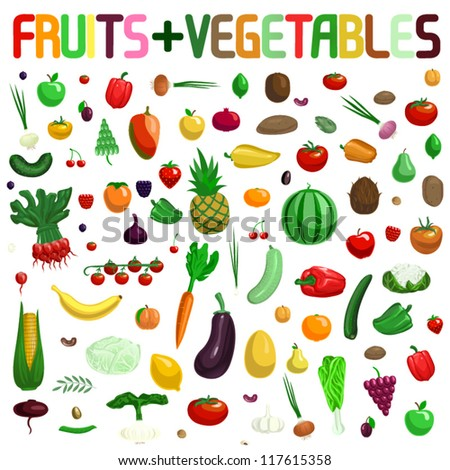 Large FRUIT and VEGETABLE collection vector illustration