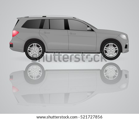 large gray suv with reflection