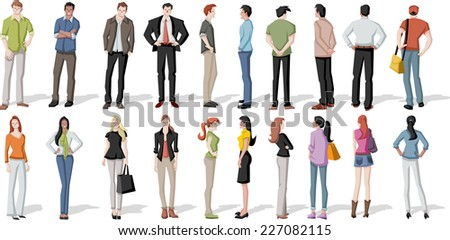 large group of cartoon young