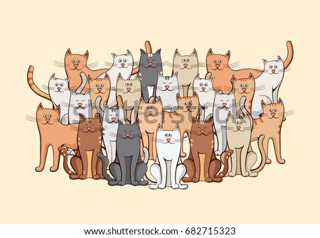 large group of cats
