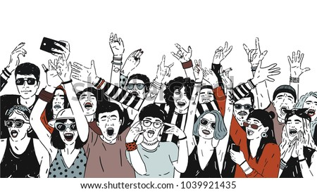 large group of cheerful people