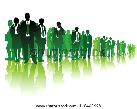 Large group of green people standing over white background.