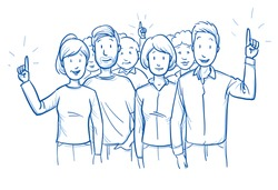 Large group of mixed people, looking happy, some raised their hands. Concept for survey or volunteers. Hand drawn blue outline line art cartoon vector illustration.