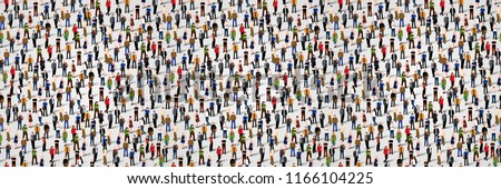 Large group of people. Crowd seamless background. Vector illustration