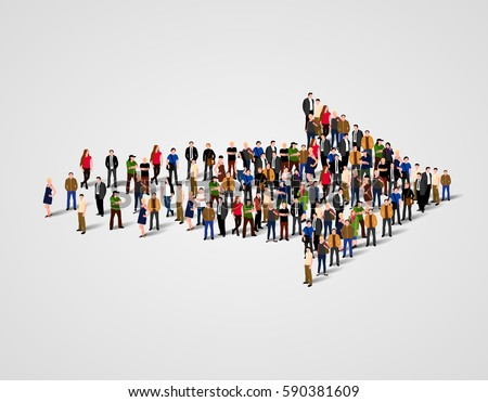 Large group of people crowded in arrow symbol. Way to success business concept. Vector illustration