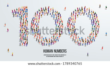 large group of people form to create number 100 or one hundred. people font or number. vector illustration of number 100.