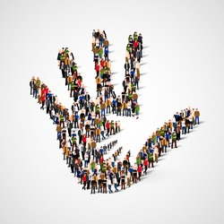 Large group of people in form of Helping hand icon. Care, adoption, pregnancy or family concept. Vector illustration