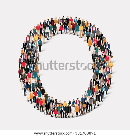 large group of people in letter