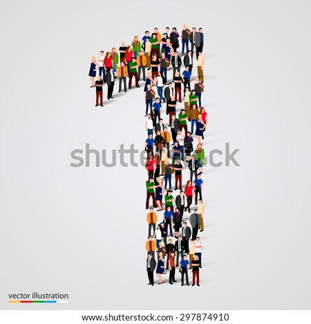 Shutterstock Large group of people in number 1 one form. People font. Vector illustration