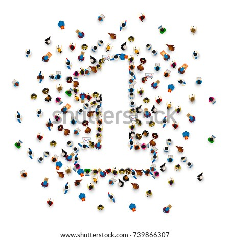 Shutterstock Large group of people in number 1 one form. People font . Vector illustration