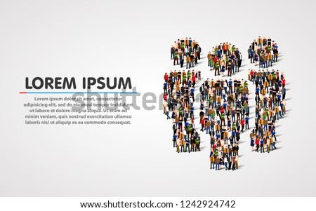 Large group of people in shape of team sign. Vector illustration