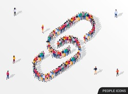 Large group of people in the form of a chain link. Vector illustration