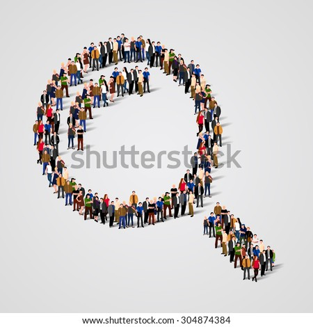 Large group of people in the shape of a magnifying glass. Vector illustration