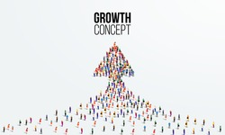 Large group of people in the shape of an arrow. Business growth concept. Vector illustration