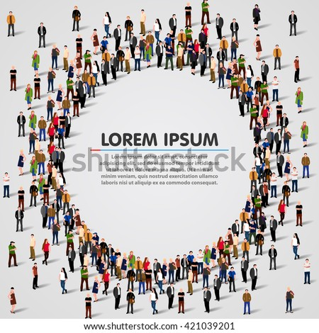 Large group of people in the shape of circle. Vector illustration