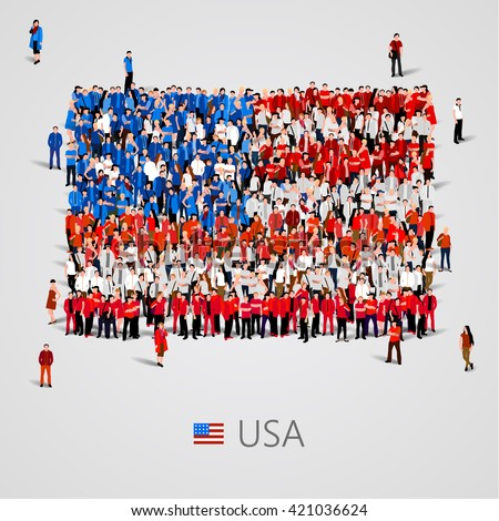 Large group of people in the shape of  United States of America flag. USA. Vector illustration