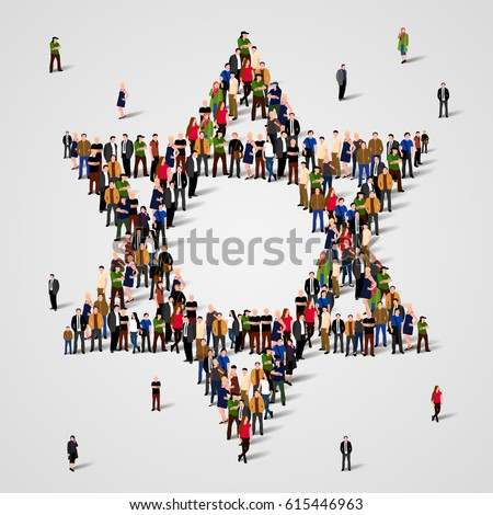 Large group of people in the Star of David shape. Judaism sign. Jewish background.  Religious symbol. Vector illustration ストックフォト ©