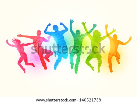 large group of people jumping